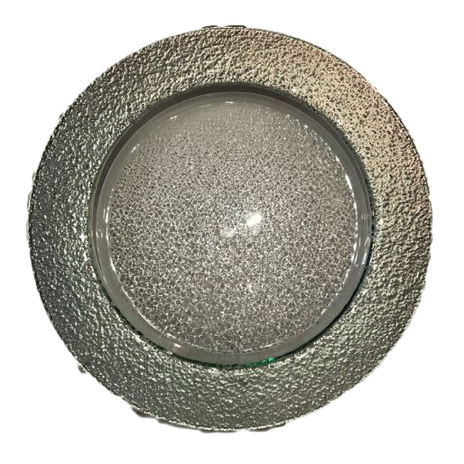 Fused Thick Rim Silver Charger