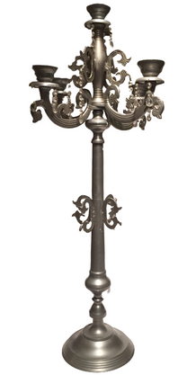 Ornate Pewter Candleabra