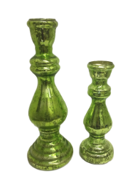 Green Mercury Candle Holders