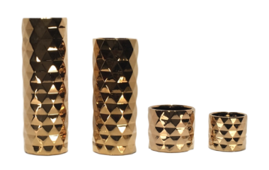 Gold Beveled Vases
