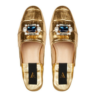 Slippers Odette Croco Deluxe Gold, 420€