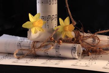 Muziekpapier en bloemen stilleven