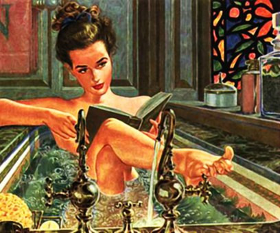 Vintage lady reading in tub