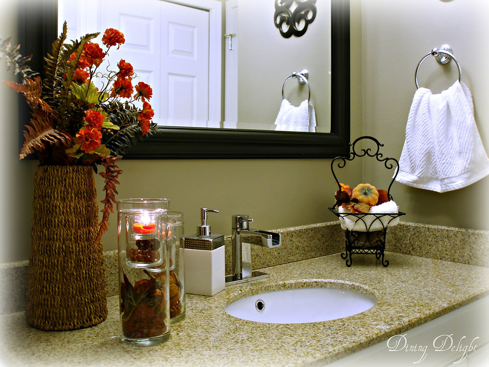 Bathroom vanity decorated for Fall