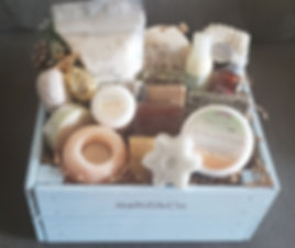Custom spa gift basket in keepsake box