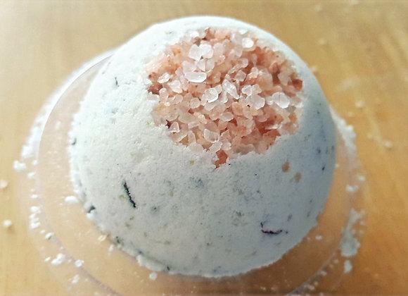 Natural bath bomb with pink Himalayan salt