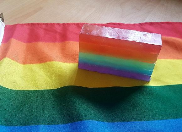Rainbow soap on Pride flag