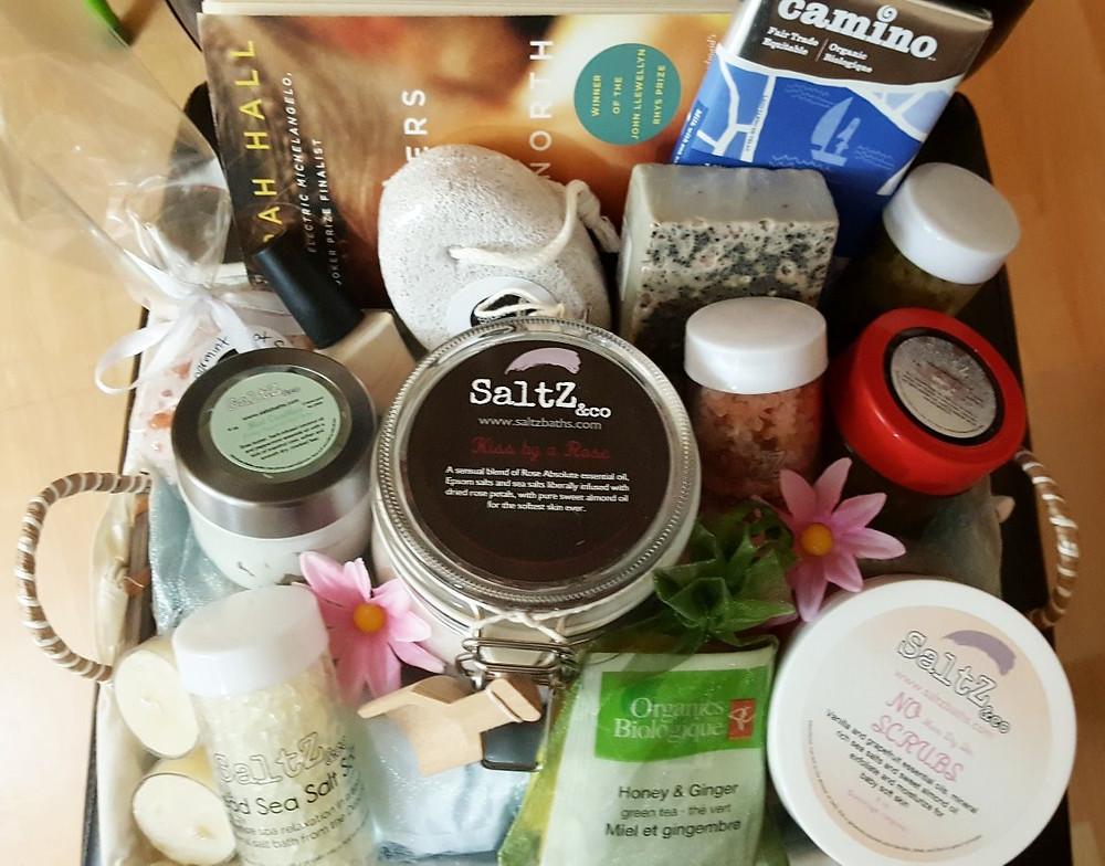 Pampering home spa gift basket