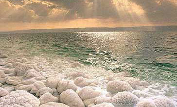 Salt crystals on the shores of the Dead Sea