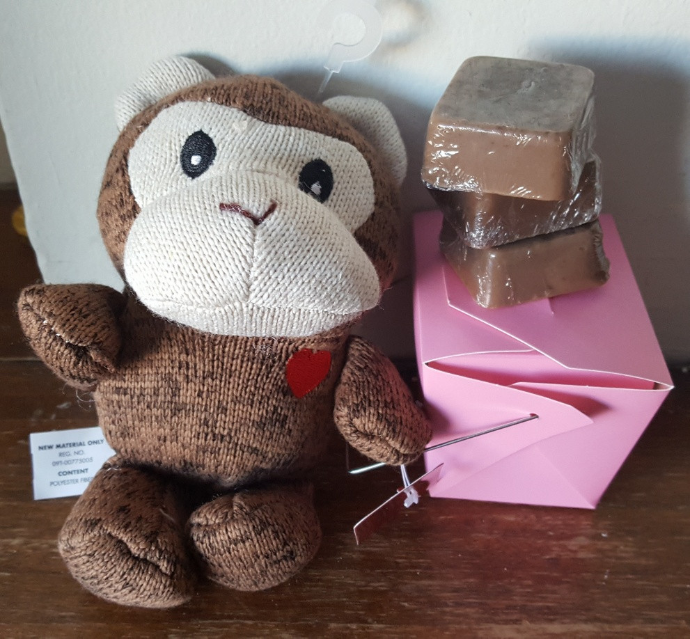 Sock monkey and chocolate soaps