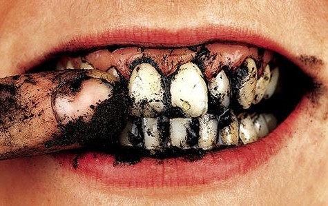 Using charcoal as toothpaste