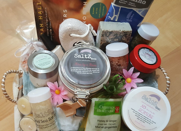 Home spa party gift basket for girls night in