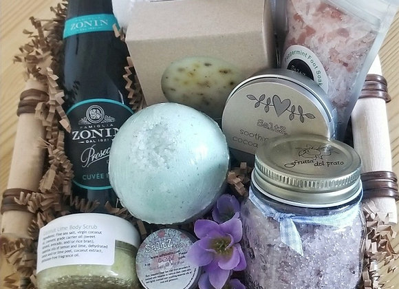 Custom spa gift basket with champagne