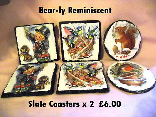 Slate Decoupage Coasters, set of 2