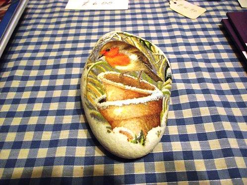 Decoupage Rock - Robin in Flower pots