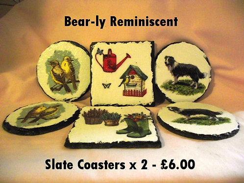 Decoupage Slate Coaster x 2