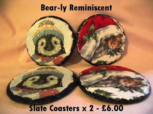 Slate Decoupage Coasters x 2