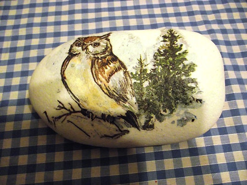 Large Decoupage Rock - Owl