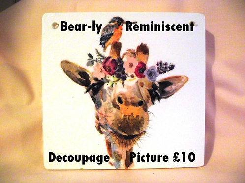 Decoupage Picture - Giraffe with little Bird