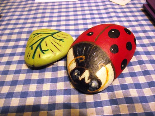 Hand Painted rock - Ladybird with Leaf