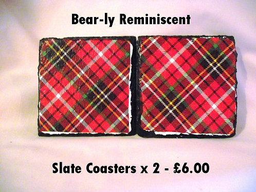 Tartan Decoupage Slate Coaster x 2