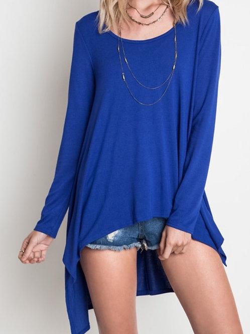 Long Sleeve Knit Top- Cobalt Blue
