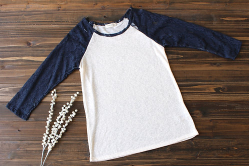 3/4 Lace Sleeve Top-Navy