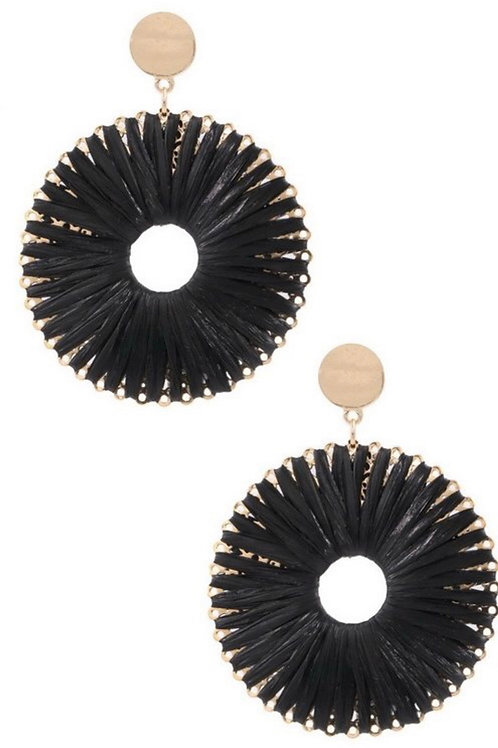 Round Black and Gold Earrings
