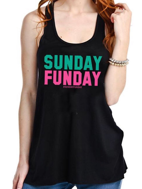 Sunday Funday- Loose Fitting Tank- Black