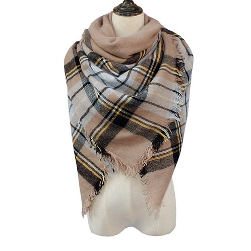 Tan/Black/Light Blue Blanket Scarf