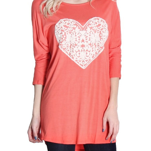 Crochet Heart Blouse- Coral