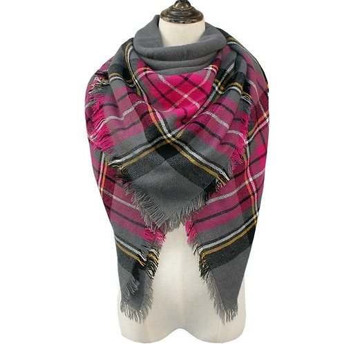 Gray/Pink/Black Blanket Scarf