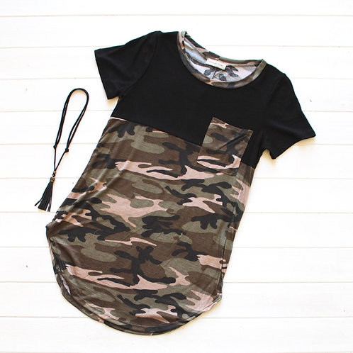 Camouflage Print with Pocket- Black