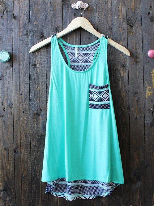 Solid with Print Back Tank- Mint