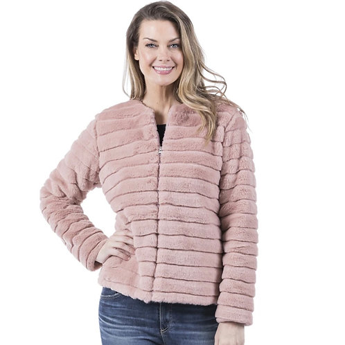 Faux Fur Front Zipper Jacket
