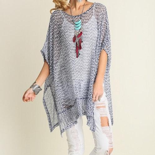Kaftan Knit Top- Charcoal