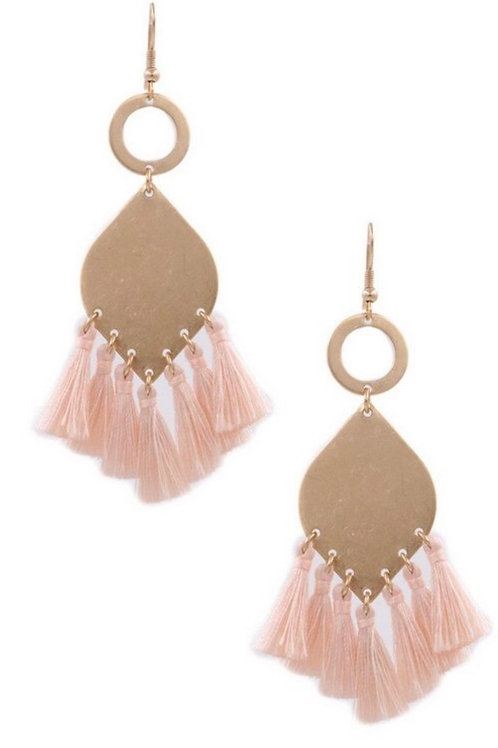 Blush and Gold Tassel Earrings