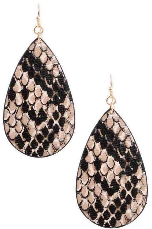 Snake Print Black and Gold Earrings