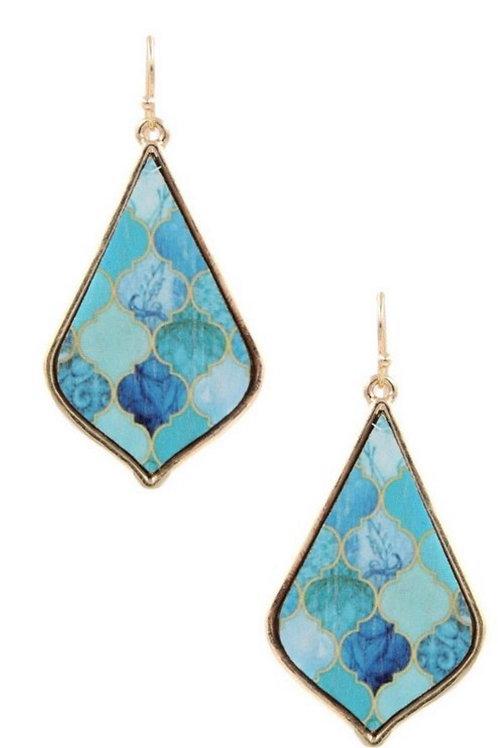 Gold & Mint Wooden Print Teardrop Earrings