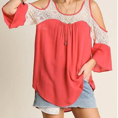 Cold Shoulder Top with Lace Details- Coral