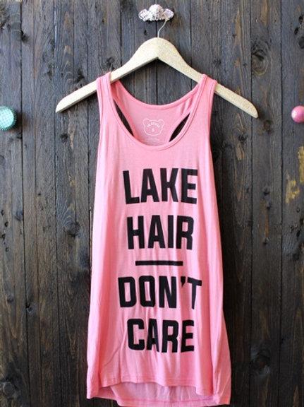 Lake Hair Don't Care Racerback- Rose