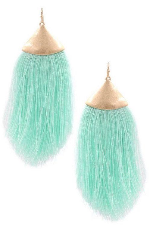 Mint Tassel Earrings