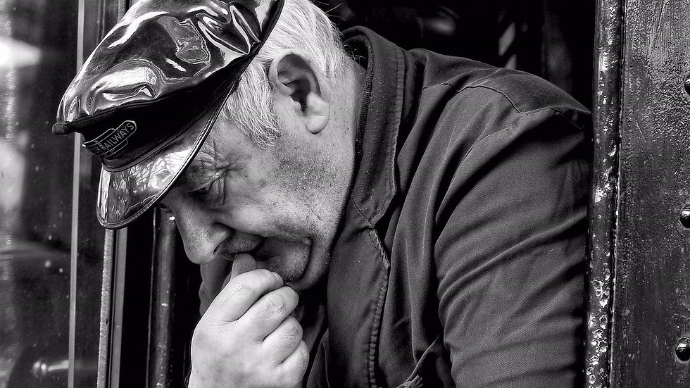 Steam driver Mick Roberts is deep in thought - © Rory Lushman