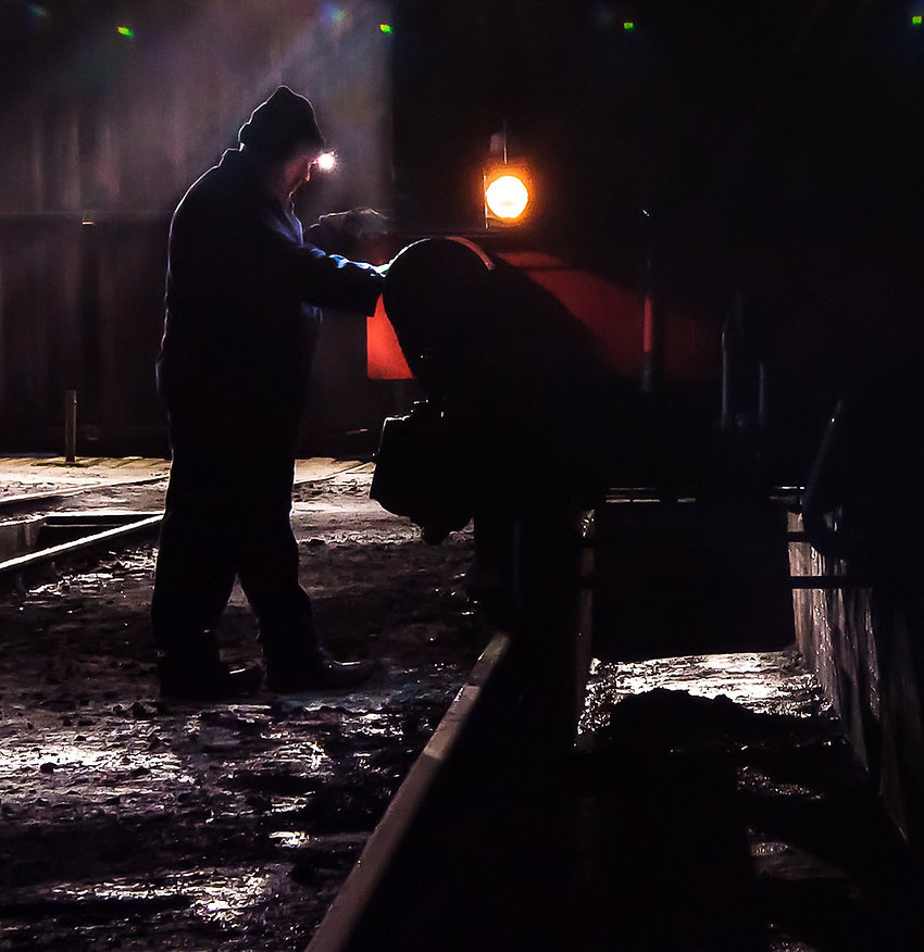 Man and machine - Preparing steam loco 1