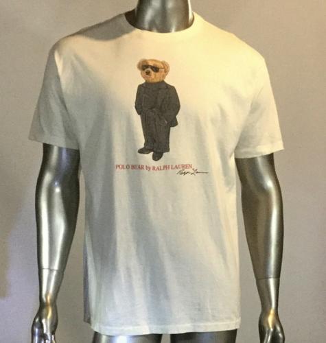 a897d478 Vintage 90's Ralph Lauren Polo Teddy Bear T shirt, White, Men's L, Rare!!!
