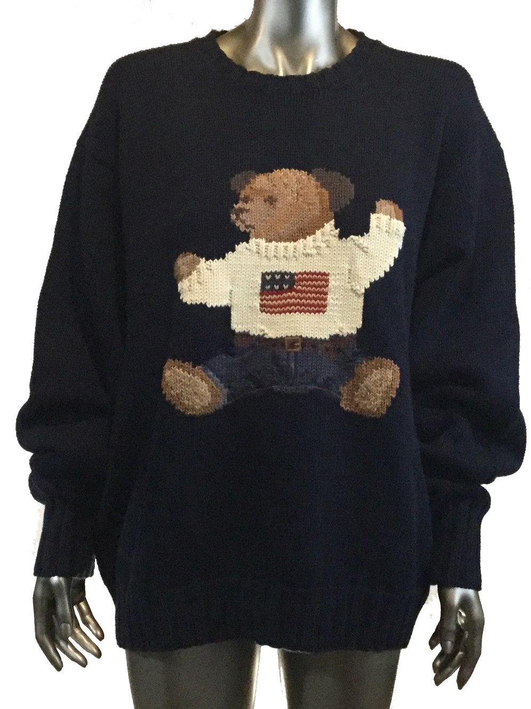 Teddy Navy Vintage Hand Polo Sweater Bear Knit Ralph Lauren Blue 8Okn0wP