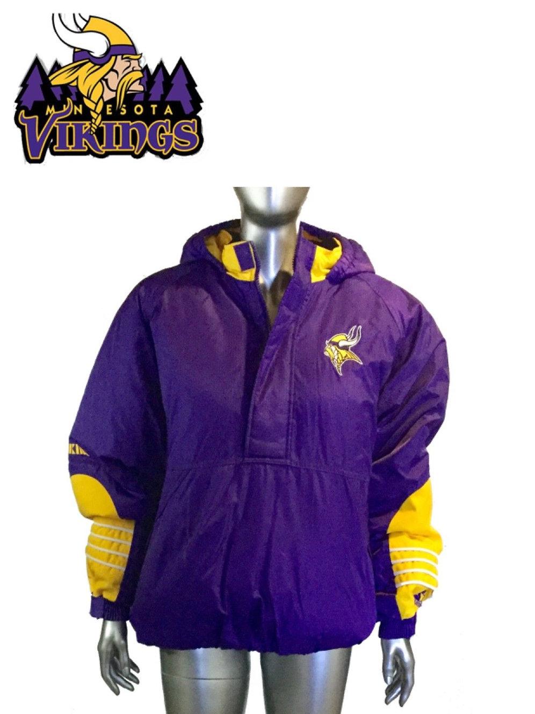 best loved d37a3 f95f7 Vintage 90s Starter Minnesota Vikings Hooded, half zip, Winter Jacket, Size  XL | sinaitex