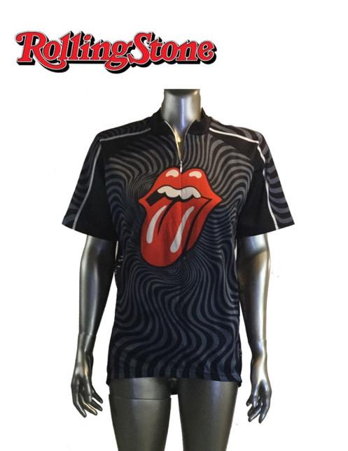 Vintage Rolling Stones Bike Jersey Shirt Half Zip Size L