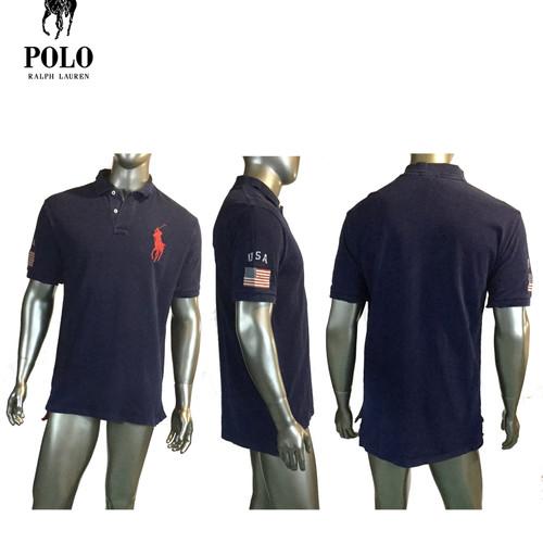 882406aec ... top quality vintage ralph lauren mens 90s navy polo shirt rugbyusa big  pony l 0ad01 a8947