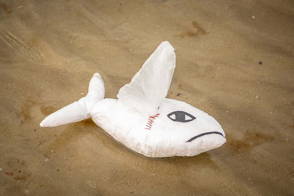 Sad Fish, made from plastic waste